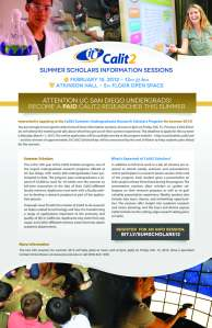2013 Summer Scholars Info Session Flyer
