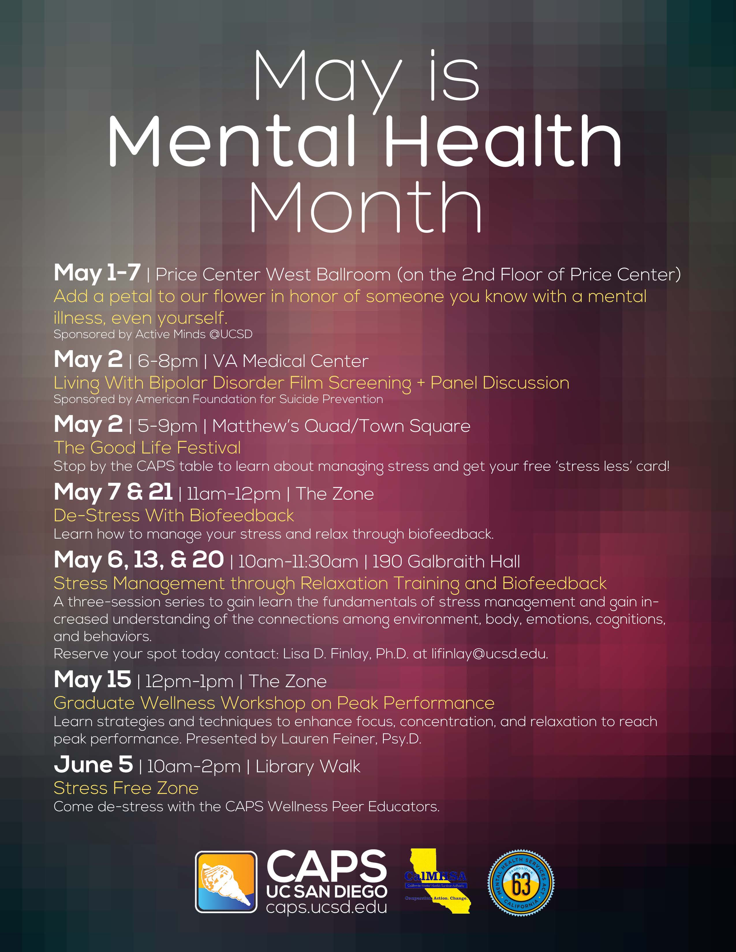 May Is Mental Health Month Ucsd Chemistry Biochemistry
