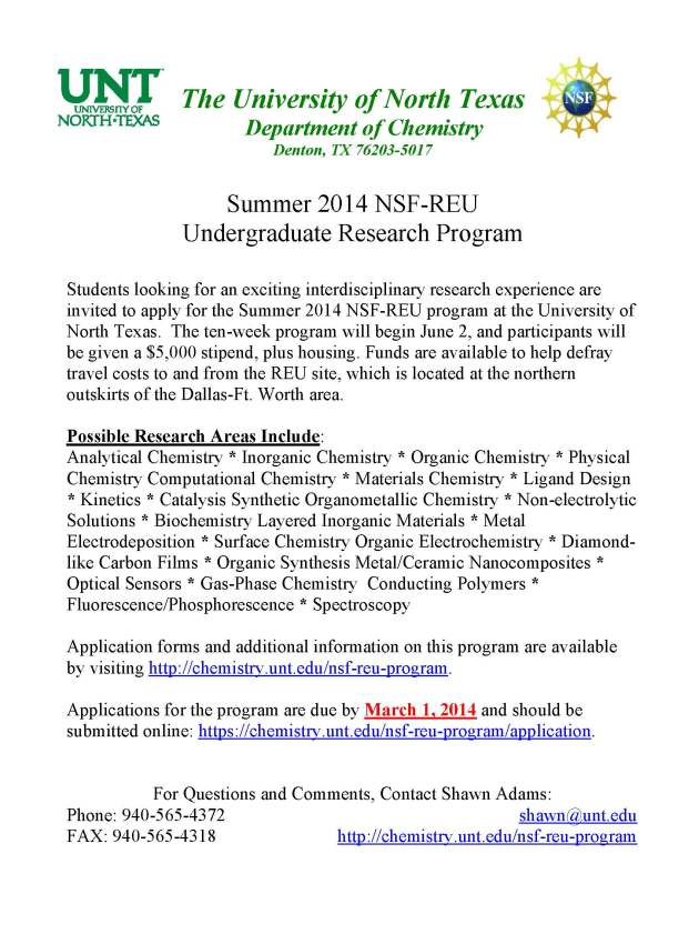 University of North Texas Summer 2014 NSF-REU Program