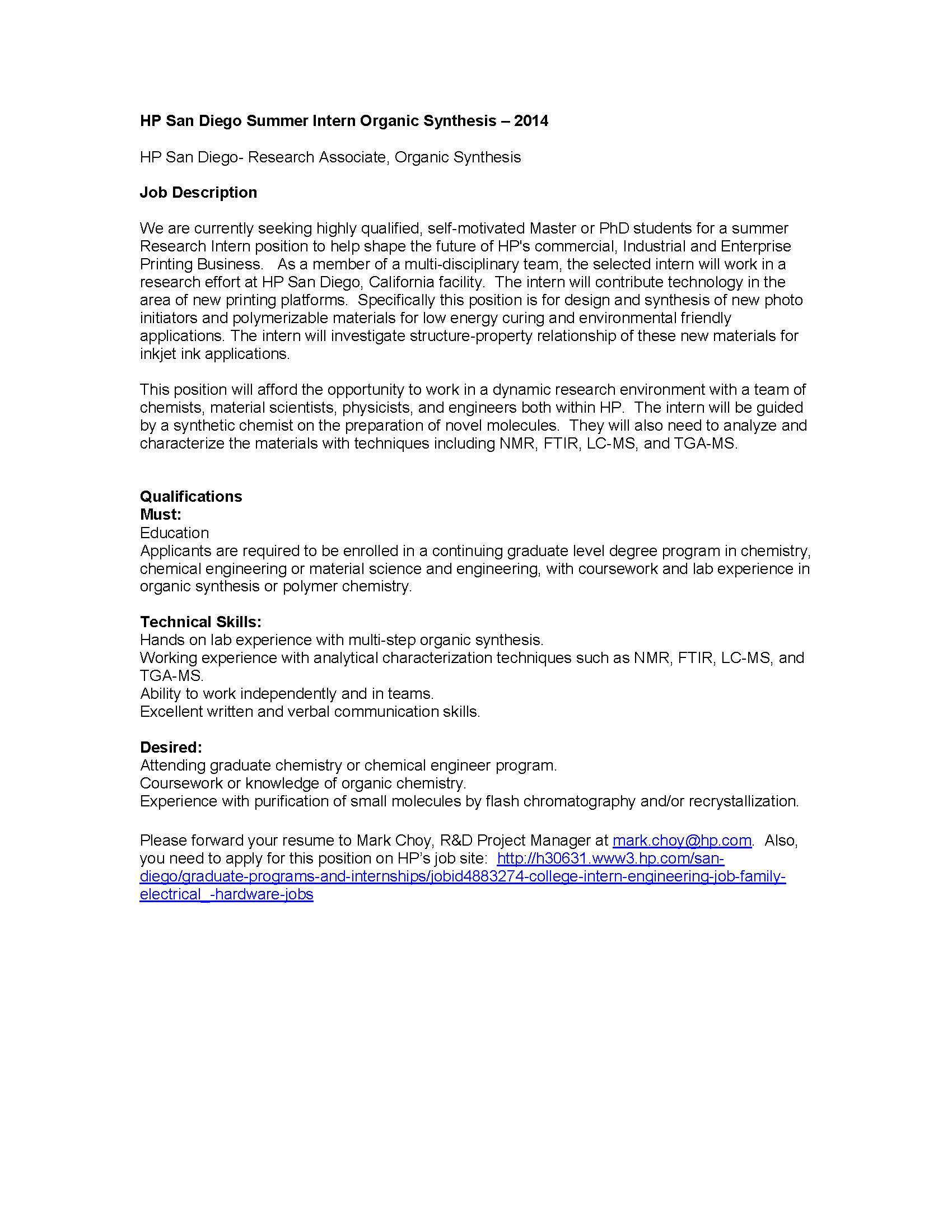 Cover letter for internship chemical engineering