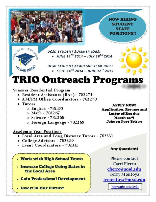 UCSD TRIO Outreach Programs Hiring for Summer and Academic Year!