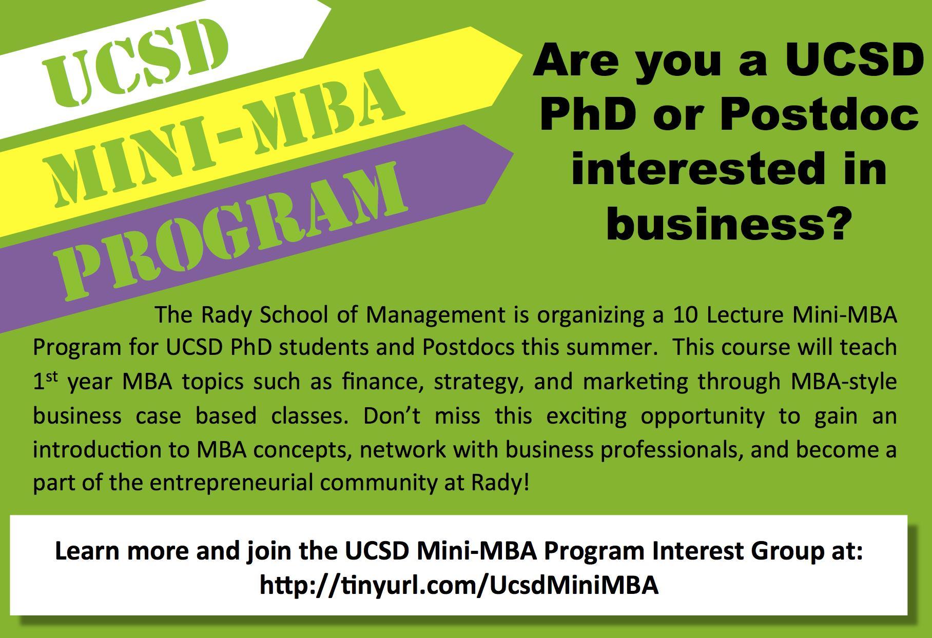 NEW Rady Mini-MBA Course for UCSD PhDs/Postdocs | UCSD Chemistry