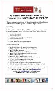 USC Regulatory Science Program__Fall 2014