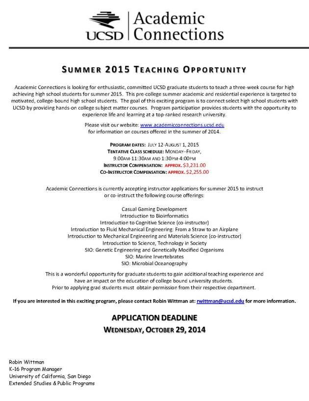 Summer 2015 Teaching Opportunity