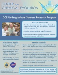 2015 CCE REU flyer