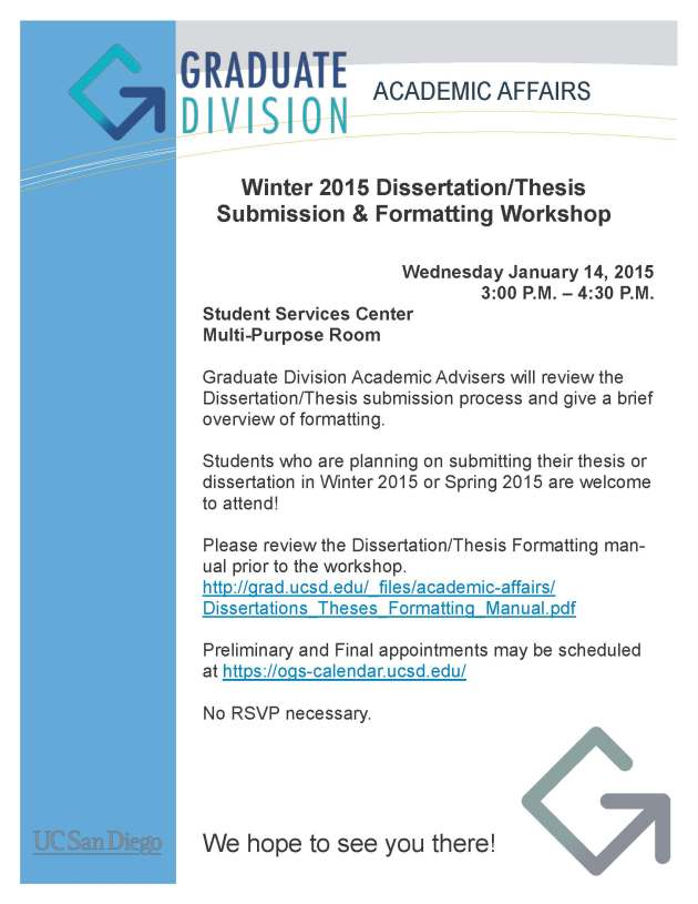 Winter 2015 Formatting Workshop Flyer