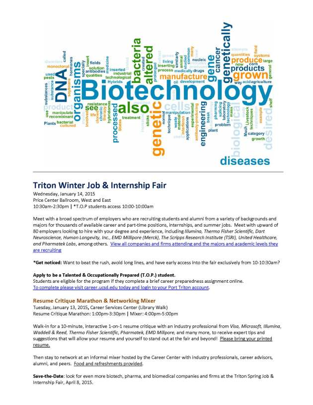 Triton Winter Job and Internship Fair_Jan 14 2015