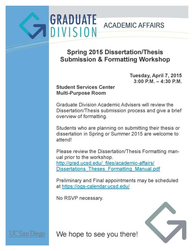 Spring 2015 Formatting Workshop Flyer