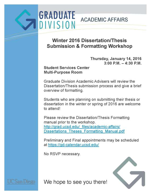 Winter 2016 Formatting Workshop Flyer
