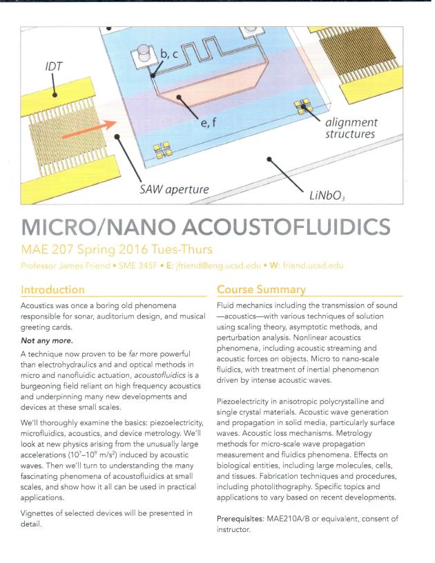Micro-Nano Acoustofluidics MAE207 Spring'16 by James Friend
