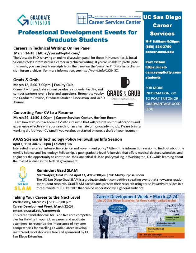 Career  Professional DevelopmentAnnouncements for Graduate Students Mar