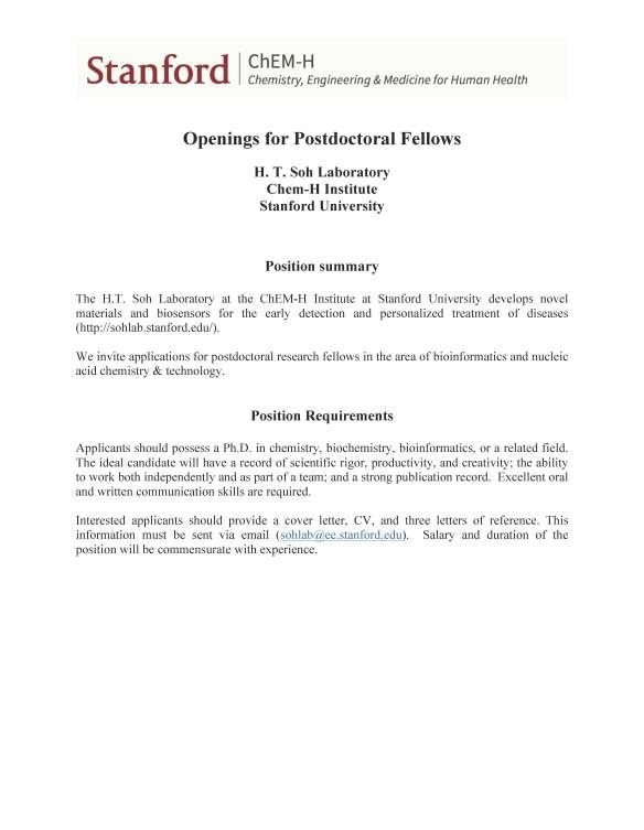 Postdoc Position at Chem-H Institute – Stanford | UCSD Chemistry