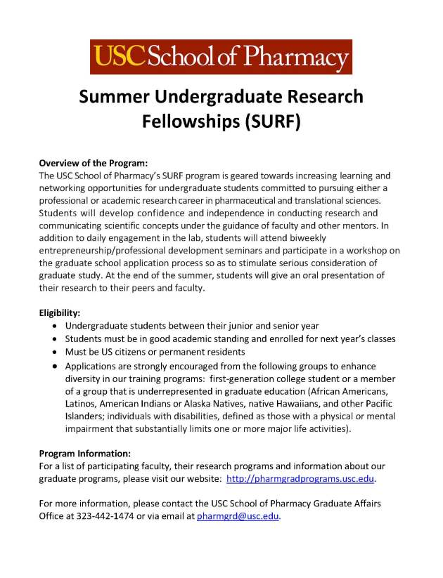 USC_School_Pharmacy_Summer Undergraduate Research Fellowships_SURF_FINAL_Page_1