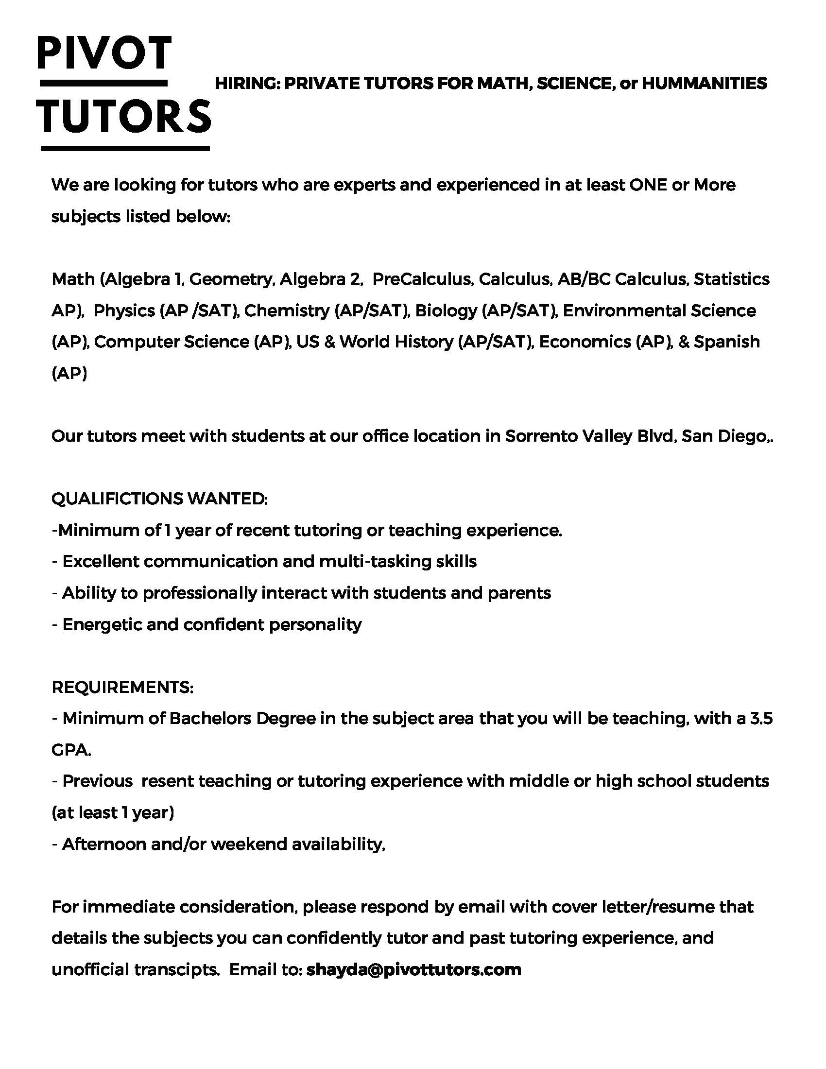 Local Private Tutoring Position at Pivot Tutors, LLC | UCSD ...