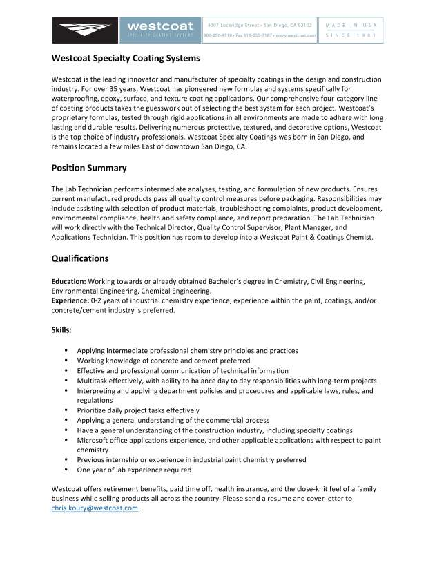 Chemist/Lab Technician Job Opportunity for Student or Recent Grad