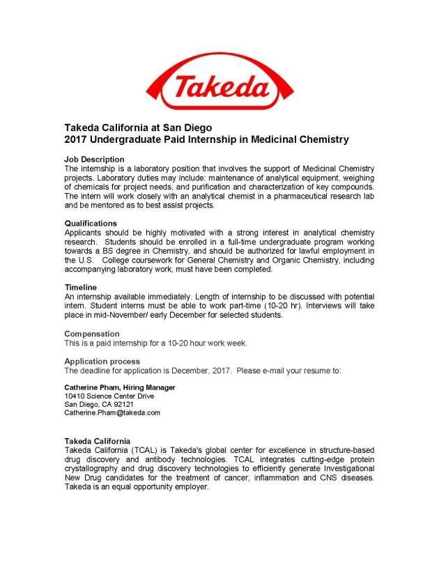 Undergraduate Paid Internship In Medicinal Chemistry  Ucsd
